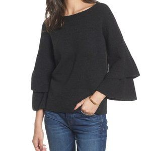 Madewell Tier Sleeve Pullover Sweater Small Black